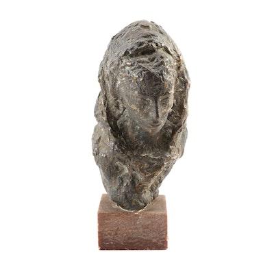 Raimondo Puccinelli Bronze Bust on Stone Plinth Base