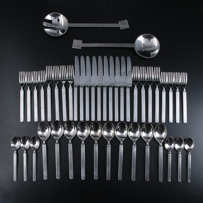"""Alessi """"Dry"""" Stainless Steel Flatware with Bissell & Wilhite Salad Serving Set"""