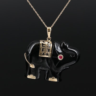 Asian 10K Black Onyx and Ruby Longevity Elephant Pendant Necklace