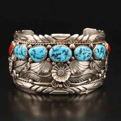 Mick Thomas Jr Navajo Diné Sterling Turquoise and Coral Cuff