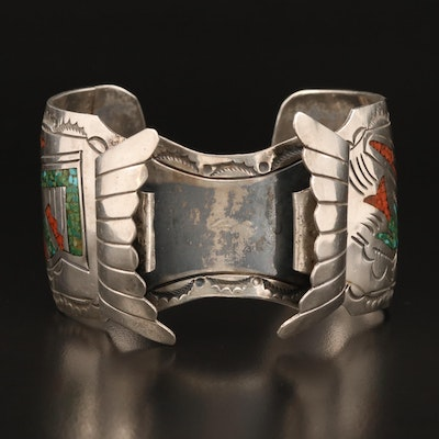 Jimmie Nezzie Navajo Diné Sterling Turquoise and Coral Watch Cuff