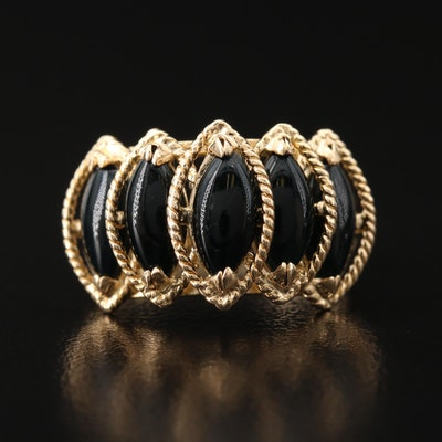 14K Black Onyx Ring with Ropework Accents
