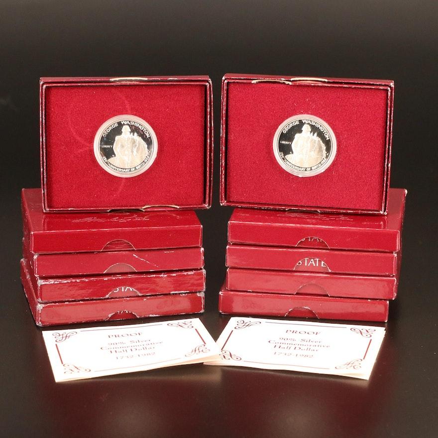 Ten 1982-S Washington Commemorative Proof Silver Half Dollars