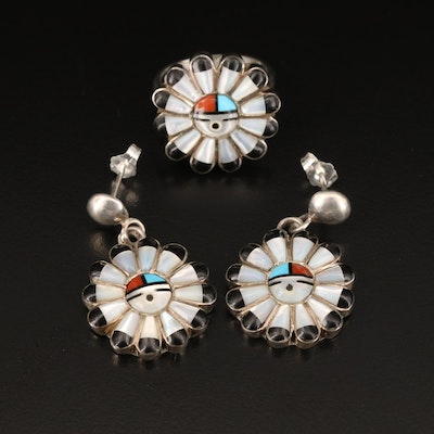 Sterling Sun God Ring and Earring Set Including Mother of Pearl and Faux Coral