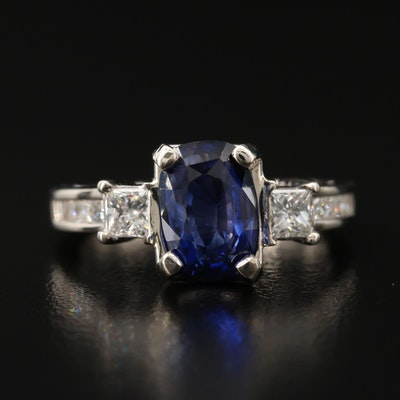 14K 3.38 CTW Sapphire and Diamond Cathedral Ring with GIA Report