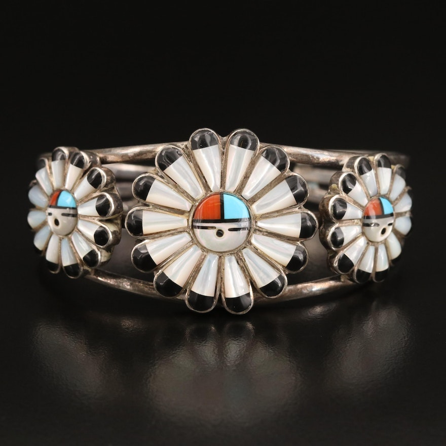 Sterling Sun God Cuff with Mother of Pearl, Faux Coral, Faux Turquoise and More