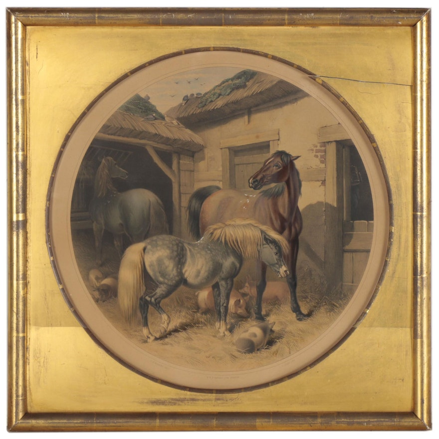 """Hand-Colored Lithograph after John Frederick Herring """"Herring's Farm"""""""