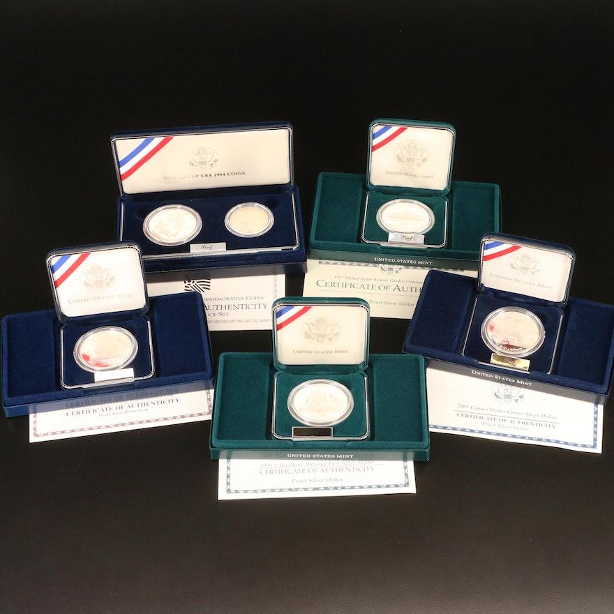 Five Commemorative Proof Silver Dollars