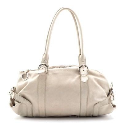 Prada Ivory Grained Leather Shoulder Bag