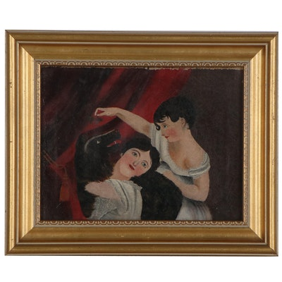 Folk Art Style Oil Painting of Women and Dog, Early 20th Century