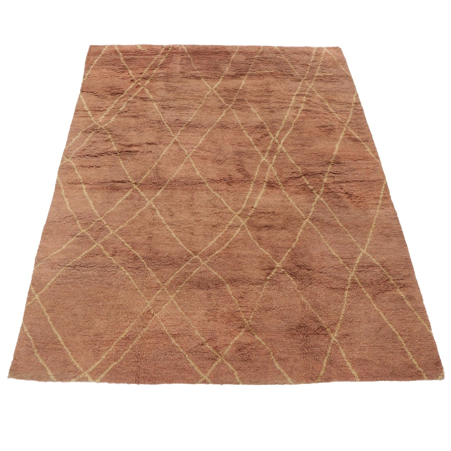 9'3 x 11'10 Hand-Knotted Moroccan Room Size Rug