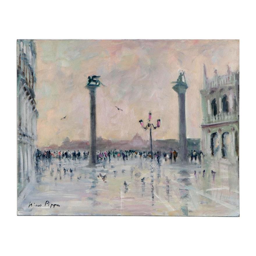 "Nino Pippa Oil Painting ""Venezia-Piazza del Doge,"" 2015"