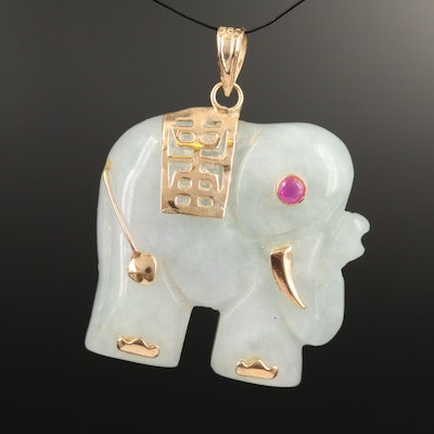 14K Jadeite and Ruby Elephant Pendant