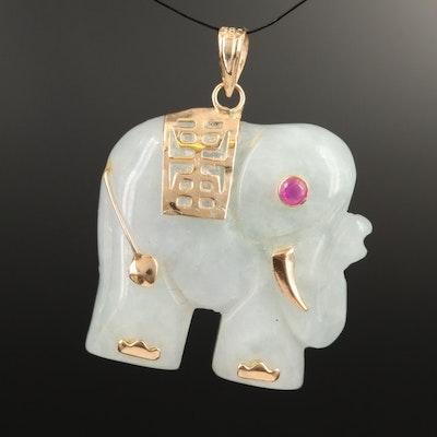 14K Jadeite and Ruby Elephant Pendant