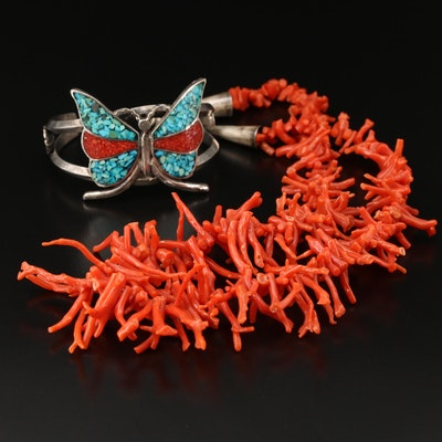 Southwestern Coral and Turquoise Inlay Cuff and Graduated Necklace