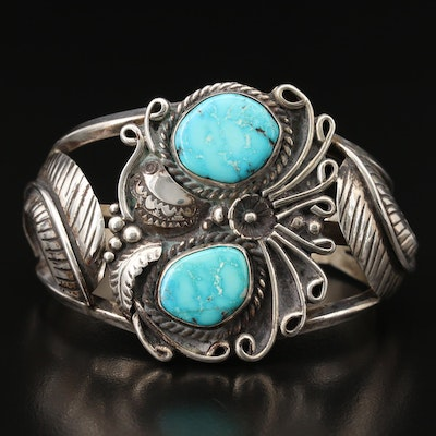 Signed Southwestern Sterling Turquoise Feather Cuff