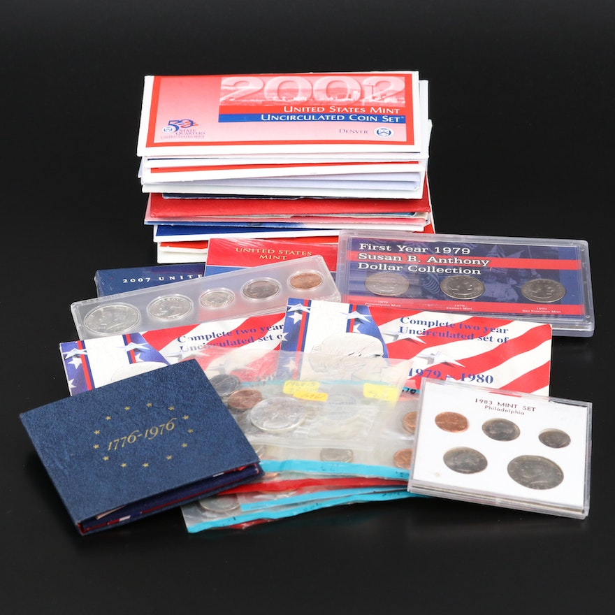 Assortment of U.S. Mint Uncirculated Sets, Bicentennial Proof Set, and Year Sets