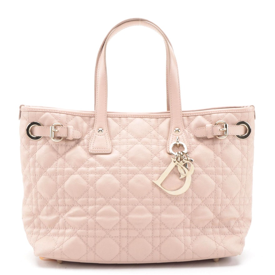 Christian Dior Mini Panarea Tote in Cannage Quilt Canvas and Smooth Leather