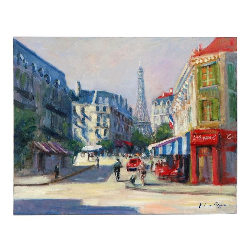 """Nino Pippa Oil Painting """"Paris-Street Scene,"""" 2017"""
