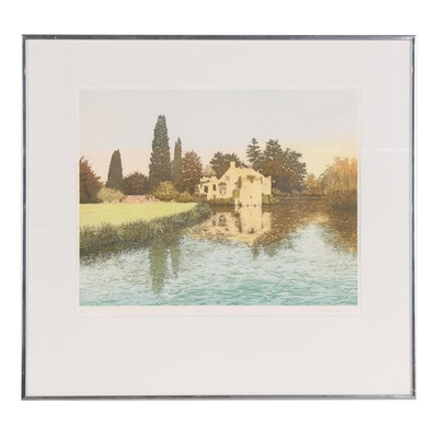 "Gilbert Browne Color Etching ""Scotney - Kent,"" 1984"