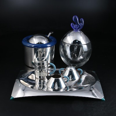 Alessi Cookie Jar with Coffee Service, Tray and Ice Bucket