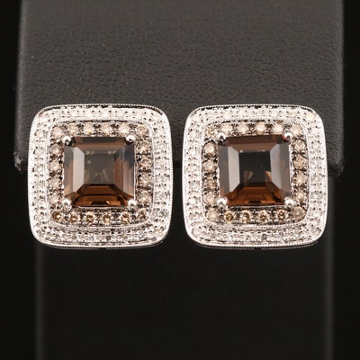 14K Smoky Quartz and 1.05 CTW Diamond Earrings