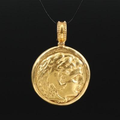 23K Reproduction Alexander the Great Silver Tetradrachm Coin Pendant