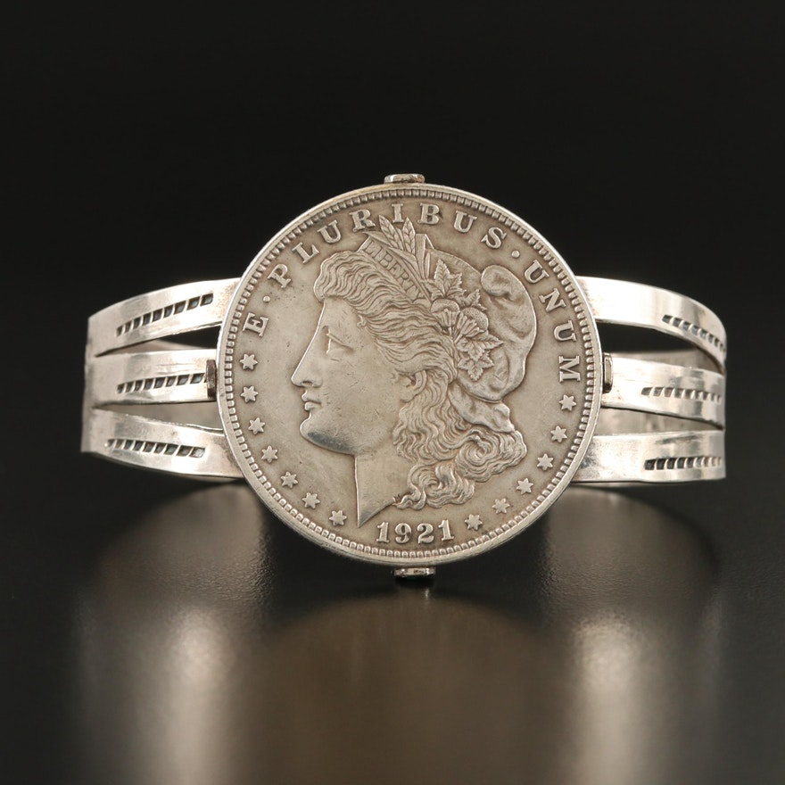 Sterling Stampwork Cuff with 1921 Morgan Silver Dollar