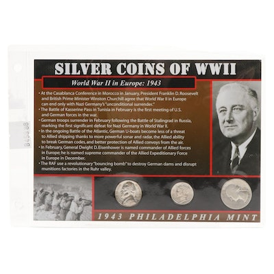 Silver Coins of WWII With Informational Card