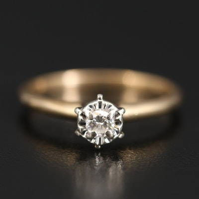 14K 0.10 CT Diamond Solitaire Ring