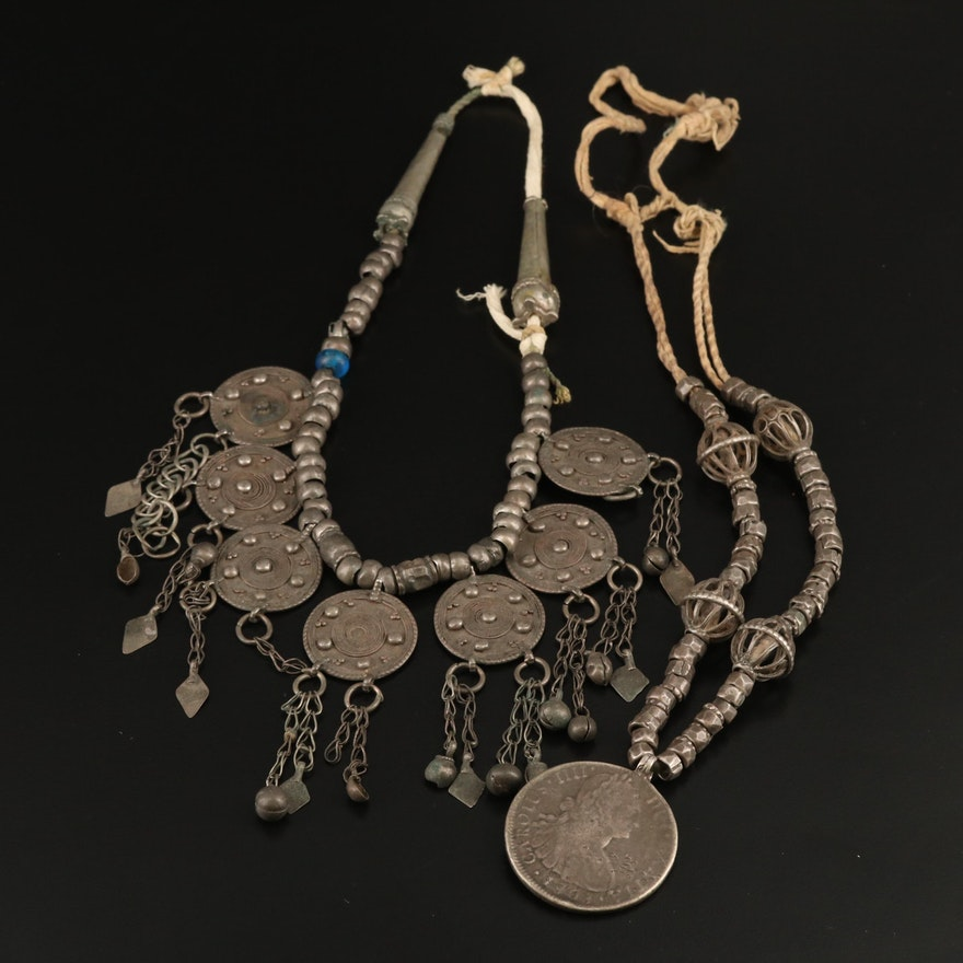 Sterling Disk Bib and Reproduced Spanish Coin Necklace