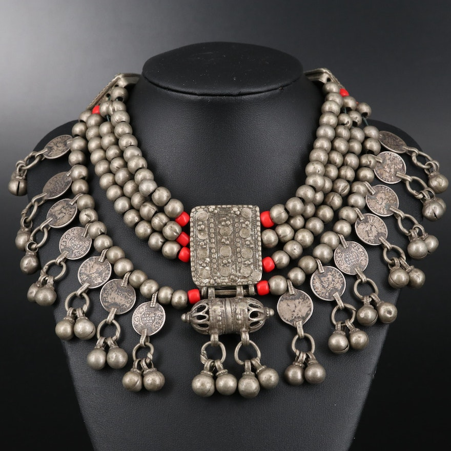 Indian Coin, Coral, and Gajre Bead Necklace