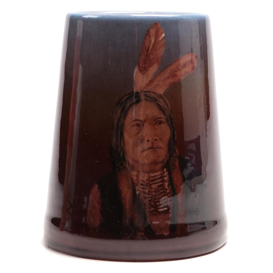"Rookwood Pottery ""Dirty Face"" Native American Portrait Mug, 1946"