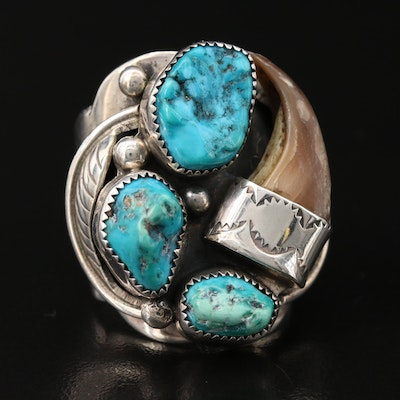 Southwestern Style Artist Signed Sterling Turquoise and Black Bear Claw Ring