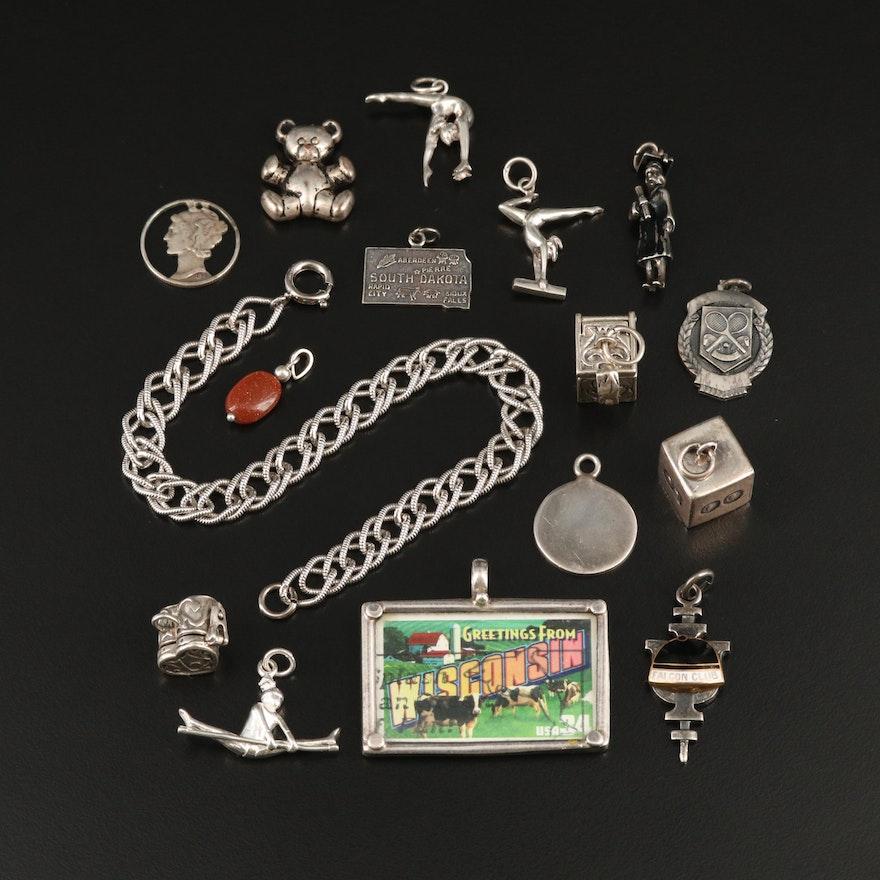 Danecraft Sterling Charms, Pendant and Bracelet Including Cutout Mercury Dime