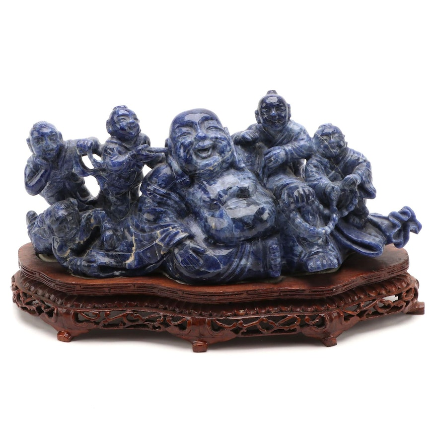 Chinese Carved Lapis Lazuli Budai with Five Children