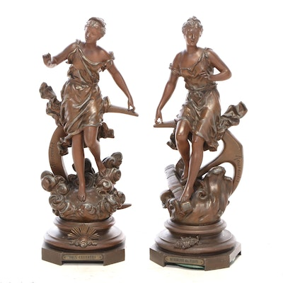 Spelter Sculptures after Ernest Rancoulet