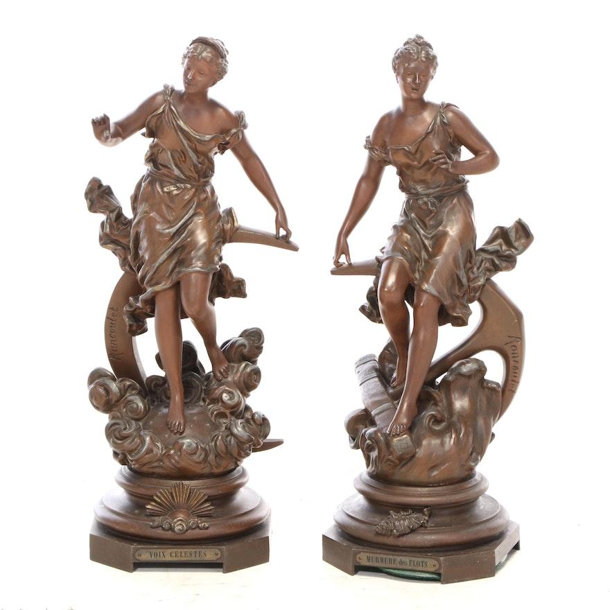Spelter Sculptures after Ernest Rancoulet