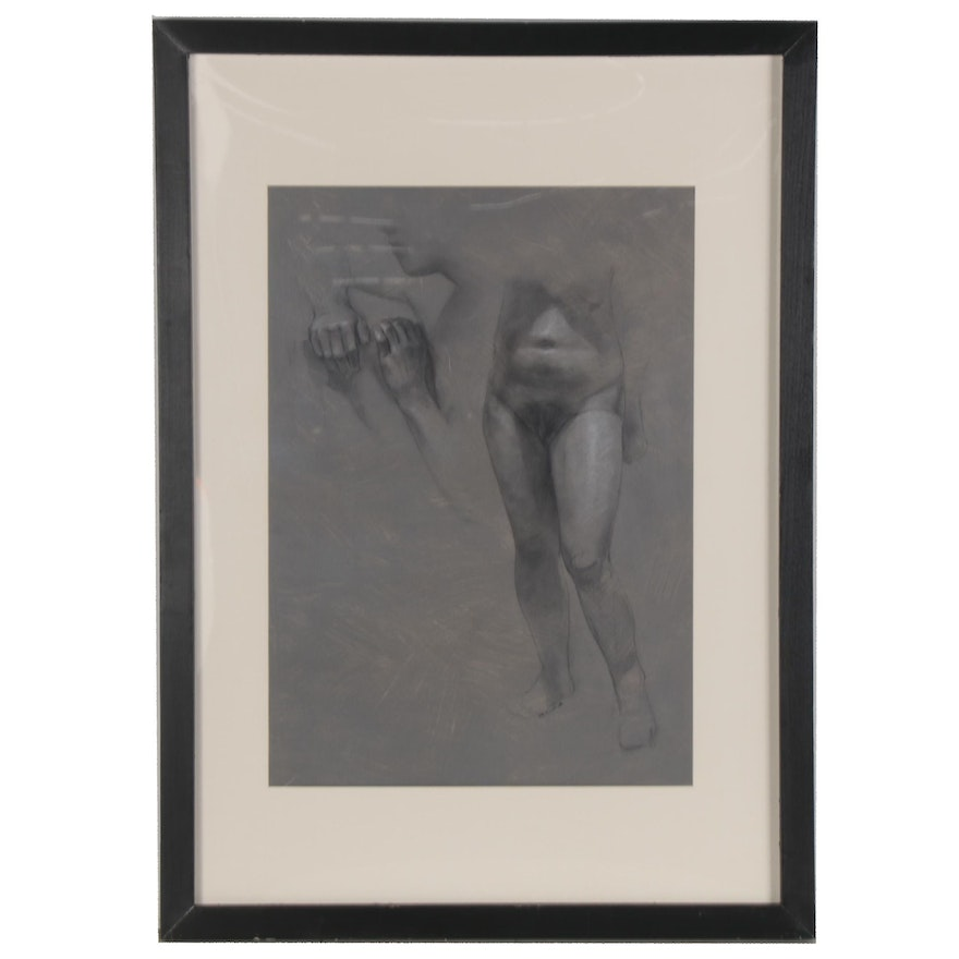 """Bruce Erikson Charcoal Drawing of Nude Study """"Charlene Standing,"""" 2008"""