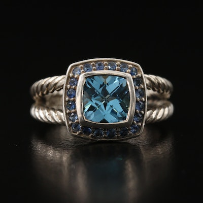 "David Yurman ""Petite Albion"" Sterling Topaz and Sapphire Ring"