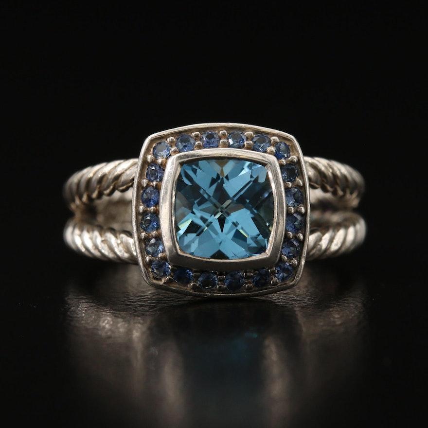 "David Yurman ""Petite Albion"" Sterling Topaz and Sapphire Ring"