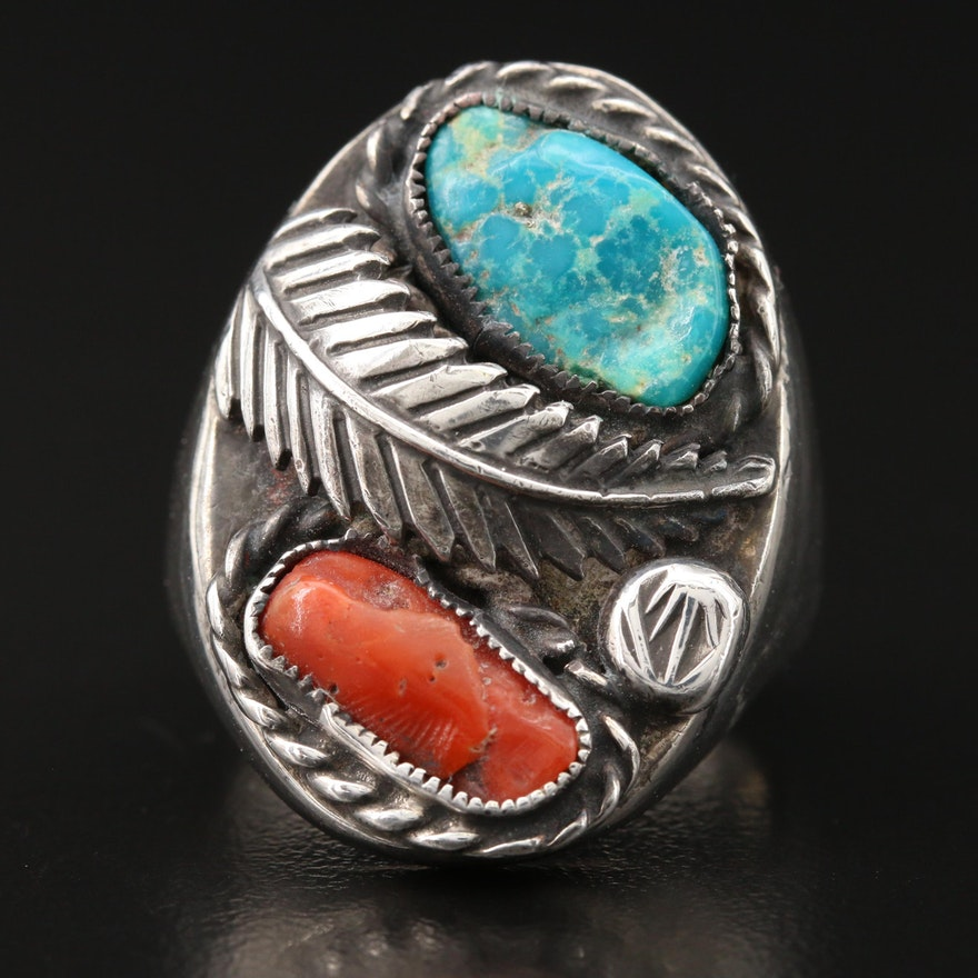 Southwestern Style Signed 800 Silver Turquoise and Coral Ring