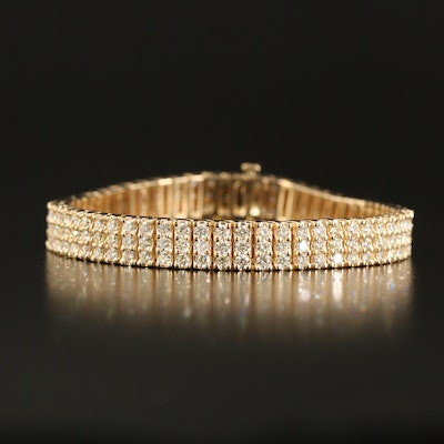 14K 7.96 CTW Diamond Triple Row Bracelet