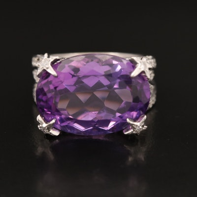 18K 13.01 CT Amethyst and Diamond East-West Ring