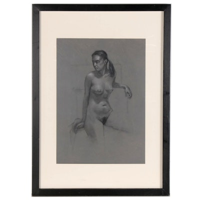 """Bruce Erikson Charcoal Drawing of Female Nude """"Charlene Seated,"""" 2008"""
