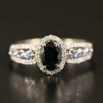 14K Sapphire and Diamond Ring with 1.00 CT Center
