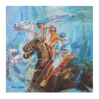 Alex Gordon Abstract Oil Painting of Horse Racing Jockeys, 2020