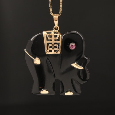 Asian 14K Black Onyx and Ruby Longevity Elephant Necklace