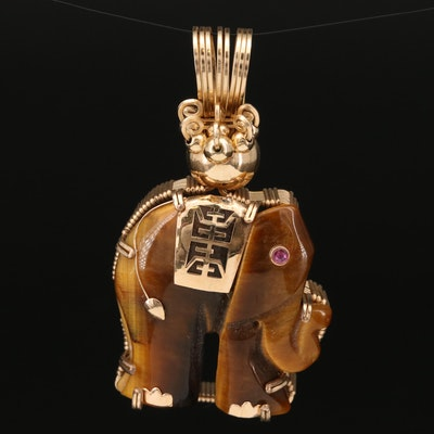 14K Tiger's Eye and Ruby Longevity Elephant Pendant