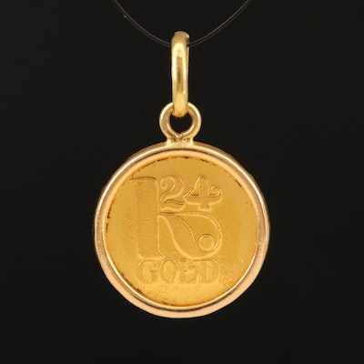 14K Bezel Pendant with Fine Gold Bullion Round from France